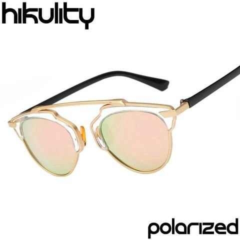 Brand Flat Top Rihanna POLARIZED Cat Eye Lunette Luxe Rose Gold Pink Cateye Sun Glasses Luxury Sunglasses HD for Men Or Women