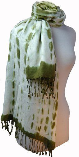 Olive and Off-White Tie Dye Pashmina Shawl/Wrap Peach Couture. $14.95