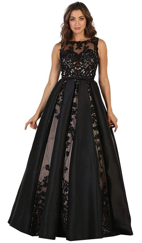 81329940d719 May Queen RQ7516 evening gown. Sleeveless, bateau styling with an illusion  neckline debut the bodice while slender bow secure the center front.