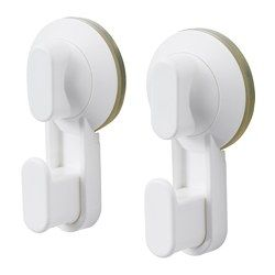 IKEA - STUGVIK, Hook with suction cup, , Includes suction cups that grip smooth surfaces such as glass, mirrors and tiles.