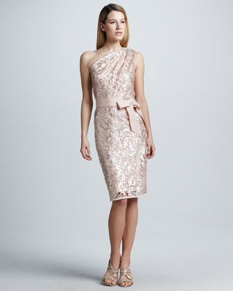 Sequined Lace One-Shoulder Cocktail Dress by Tadashi Shoji at Neiman Marcus.