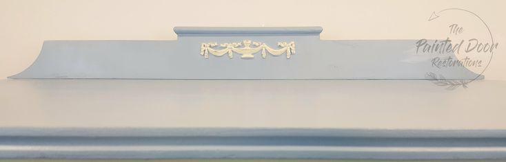 Back Rail detailing of the Antique Louis Blue Dresser.