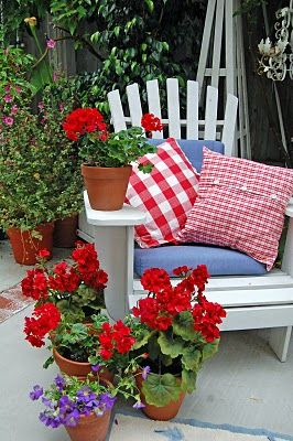 Has everything I love...red checked fabric, red geraniums and a white Adirondack chair...delightful!