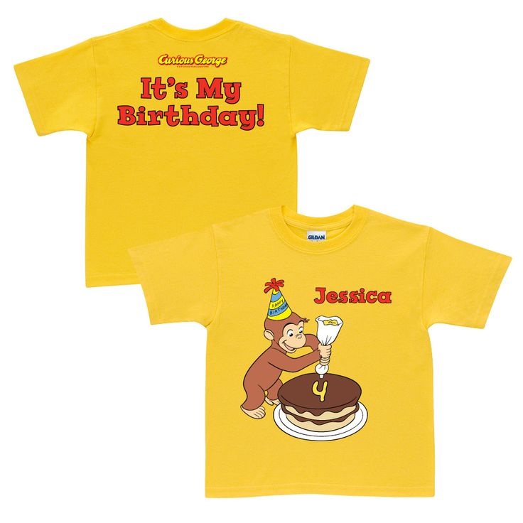 The Official PBS KIDS Shop | Curious George It's My Birthday Yellow T-Shirt - T-Shirts - Clothing