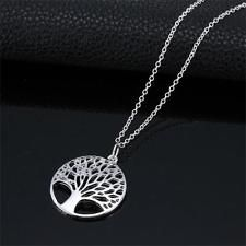 Fashion Shiny Silver The Wish Tree Of Life Charm Necklace Pendant Chain Jewelry