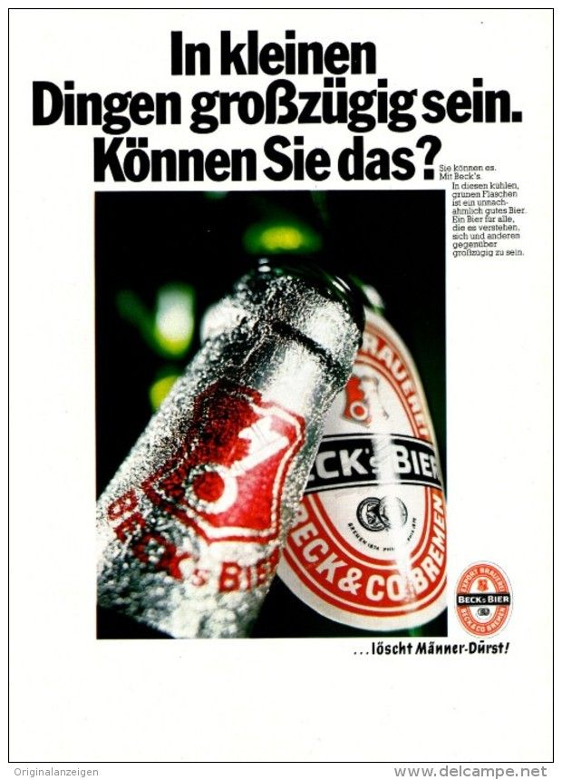 Original-Werbung/ Anzeige 1969 - BECK'S BIER - ca. 180 x 240 mm