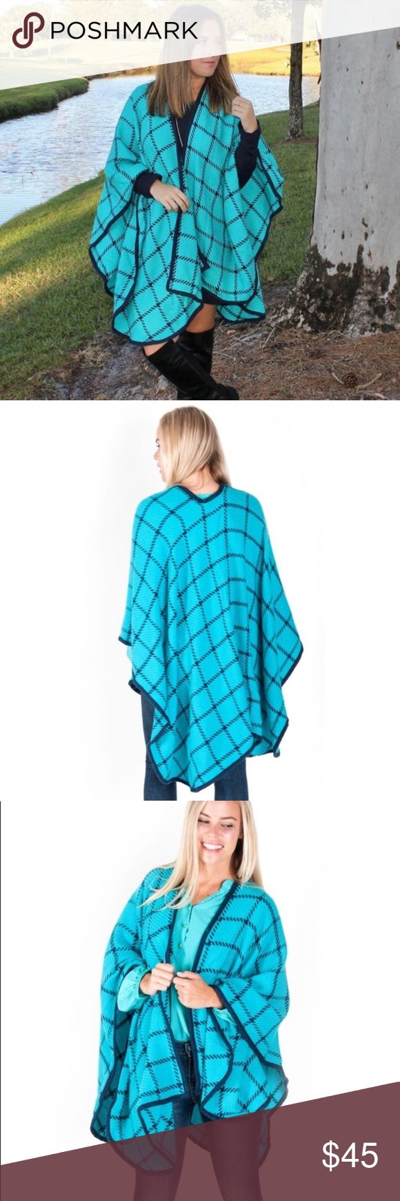New Beautiful Women's Wrap 🌼Only 3 Left🌼  This Beautiful Wrap,  Wrap yourself up in this warm, cozy check shawl.   Features an open front and solid trim for a finished look.  Perfect for those cold weather days!  OSFA-One Size Fit All Jackets & Coats