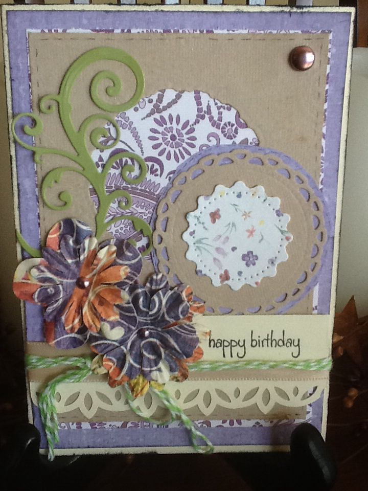 Happy Birthday in purple and tan