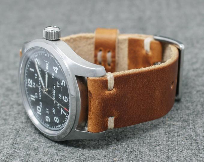 Leather Watch Strap Vintage Style 18mm 20mm 22mm 24mm Horween English Tan Hand Stitched Bracelet Montre Cuir Produits En Cuir Montre Bracelet
