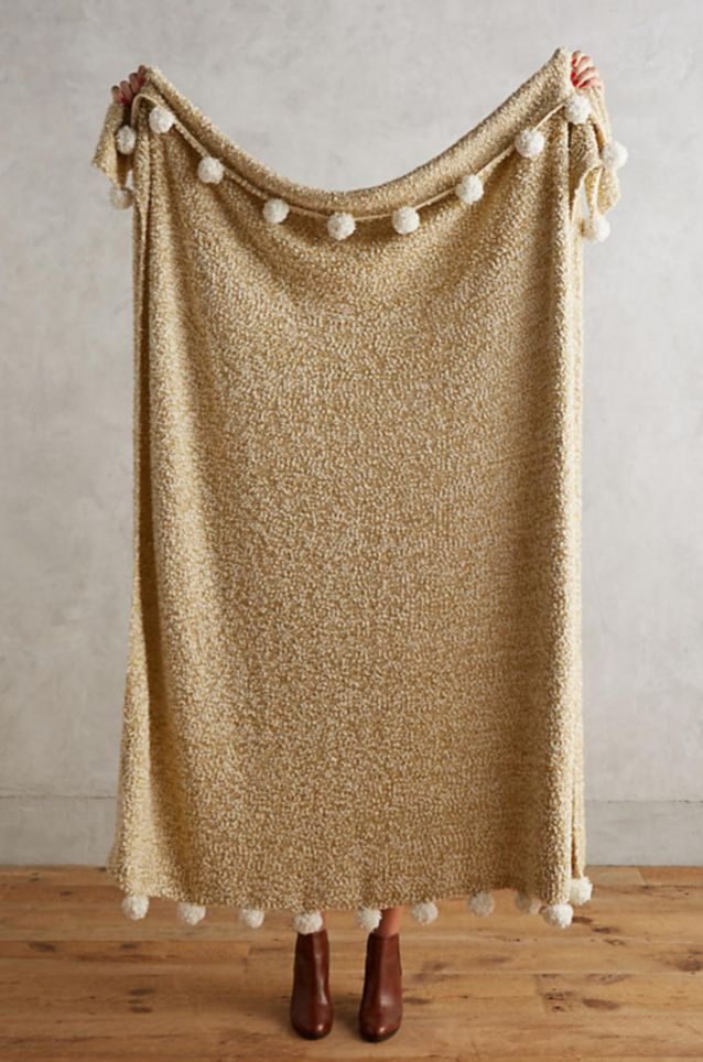Golden Pom Throw | Anthropologie