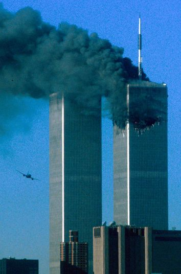 Hijacked United Airlines Flight 175, which departed from Boston en route for Los Angeles, is shown on a flight path for the South Tower of the World Trade Towers September 11, 2001