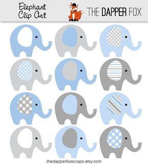 Blauw en grijs olifant Clip Art - INSTANT DOWNLOAD - Baby boy baby douche clipart olifanten