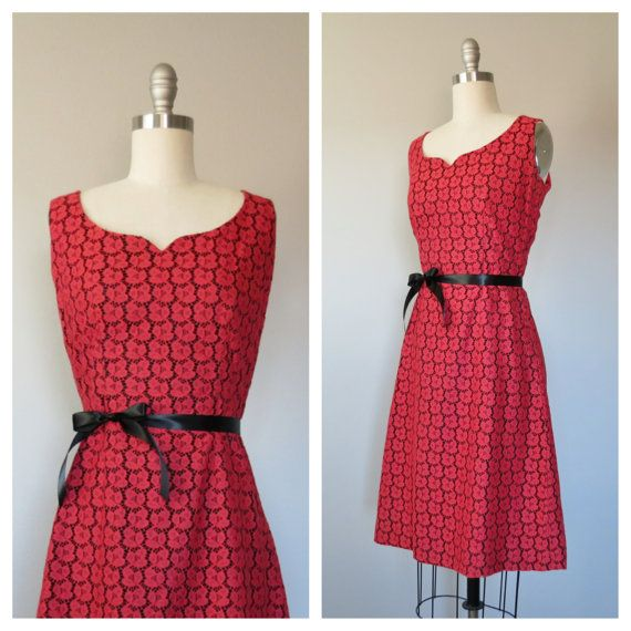 50s red lace cocktail dress size small / by SwanSongVintage1