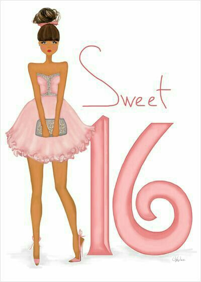Sweet 16 Birthday Card - art & fashion illustration card featuring glitter and metallic accents.