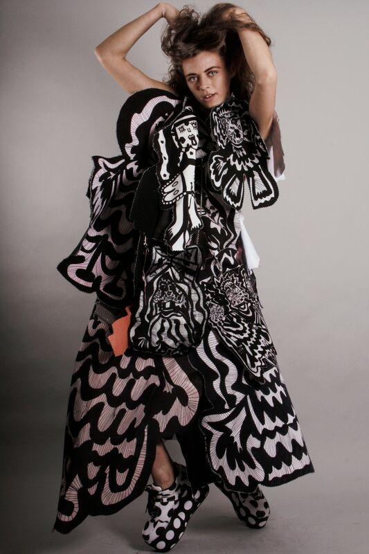Wearable Art - layered dress with bold digital print; innovative fashion design; sculptural fashion // Rebecca Carrington