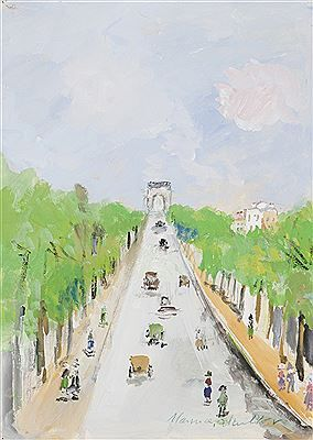 """Les Champs Elysées"" by Maurice Utrillo (French 1883 - 1955)"