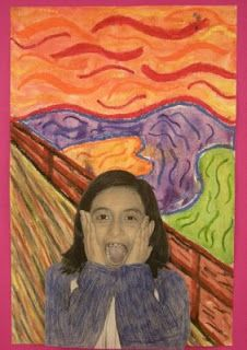 """Students learned about the artist Edvard Munch and his famous artwork """"The Scream"""".Students  learned that Edvard Munch is the person in the painting but he is not actually screaming. He is in shock because he thought that nature was screaming at him due to the  the bright red sky against the dark land.Students also learned that """"The Scream""""was stolen twice, but they were able to get it back both times without much damage to the painting."""