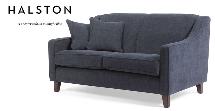 An elegant design reminiscent of the 1920s, the Halston midnight blue 2 seater sofa has a deep, comfy seat.
