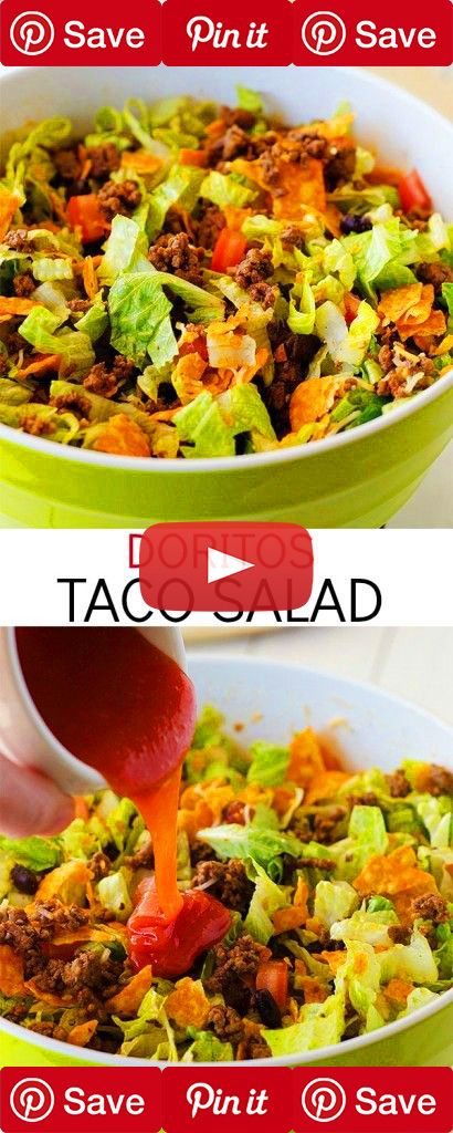 Doritos Taco Salad Ingredients Meat 1 lb Ground beef, lean Produce 1 cup Black beans 2 Romaine lettuce hearts 1 Tomato, large Condiments 1 cup Catalina dressing Baking & Spices 1 packet Taco seasoning Dairy 1/2 cup Cheddar cheese 1 cup Nacho cheese doritos Pickedz