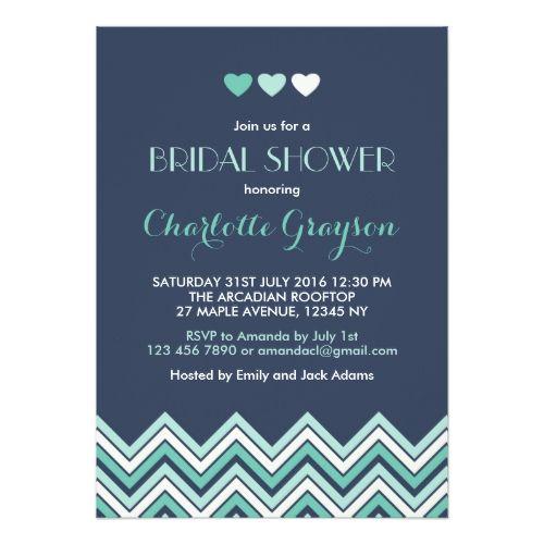 Navy Blue Aqua Chevron Bridal Shower Invitation