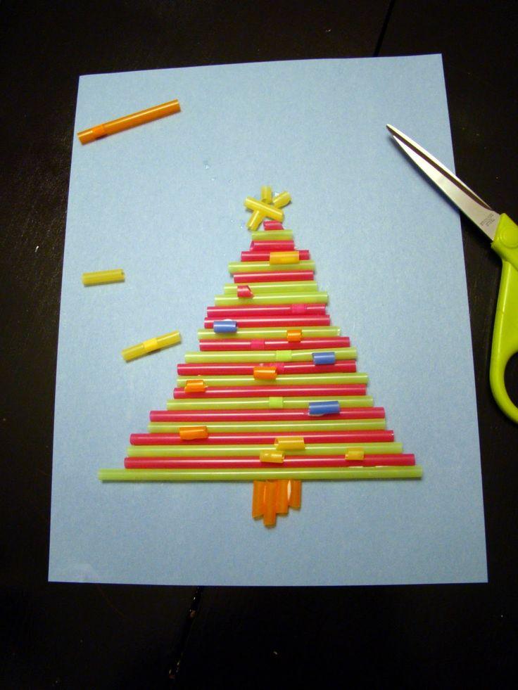 Drinking straw Christmas tree craft
