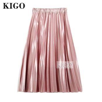 Kigo mujeres del resorte falda plisada vintage alta cintura elástica rosa metálico falda elegante midi falda de la mujer jupe tul kc0385h