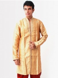 Buy #Bodyline #Men Golden Embroidery #Kurta @YuvaStyle India