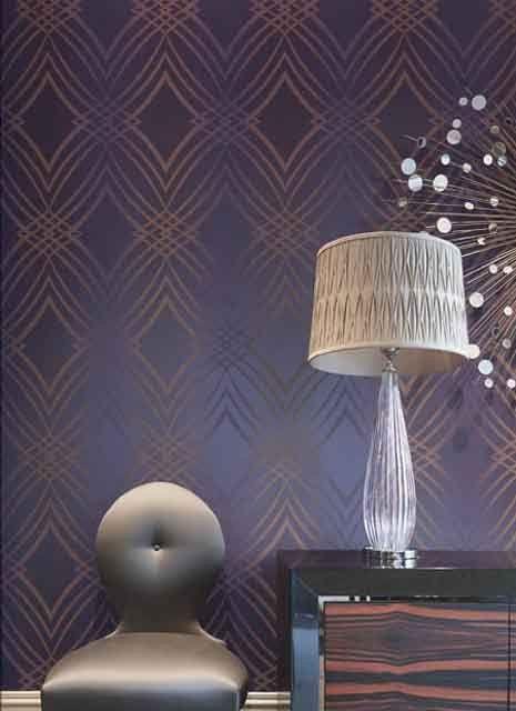 Geometric Glitter Wallpaper in Metallic and Purple design by Seabrook Wallcoverings