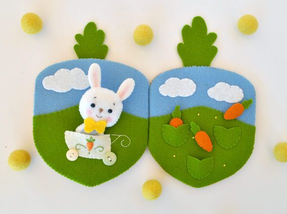 Activity book Quiet book bunny with carrots Busy book Cloth book Toddler book Felt book Easter gift Easter bunny baby gift 100% wool felt