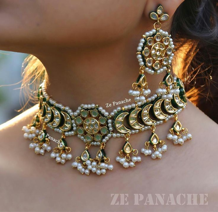 "@zepanache. Our new creation ""CHAND CHOKER"" for those who like delicate chokers with hint of color in it! Can be done in green as well"