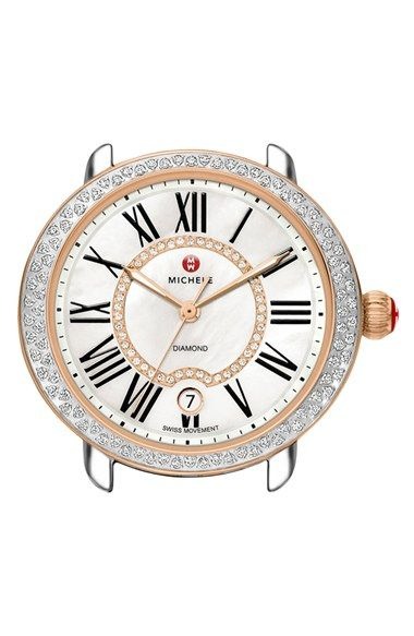 MICHELE 'Serein 16 Diamond' Rose Gold Plated Watch Case, 34mm x 36mm available at #Nordstrom