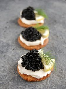 Caviar Appetizers   ***(substitute lemon with a slice of cucumber)