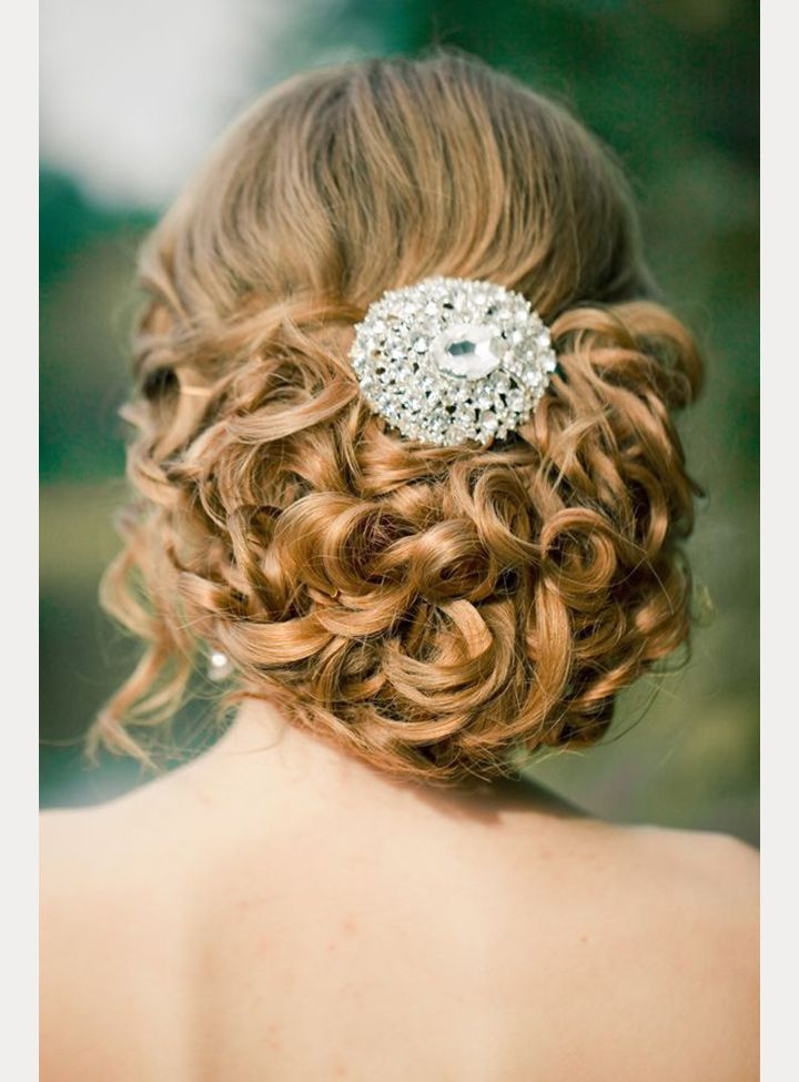 Many pin curls with jeweled hair accessory ~ we ❤ this! moncheribridals.com