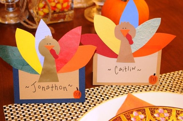Turkey place cards. Kids DIY