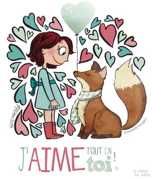 ...et un dessin. Avec Mathou (mais si, la dessinatrice du super blog Crayon d'Humeur) on vous a préparé ce petit cadeau, alors voilà une illu à imprimer, enregistrer, copier, envoyer, transférer pour crier votre amour à l'approche de la St Valentin !...