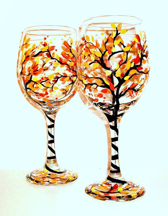 SALE / Handpainted Wine Glasses Fall is in the Air Hand Painted Set of 2 / 20 oz. / Ready to Ship