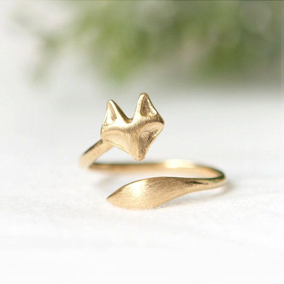 Fox ring / adjustable ring / choose your colorgold and by laonato, $14.00