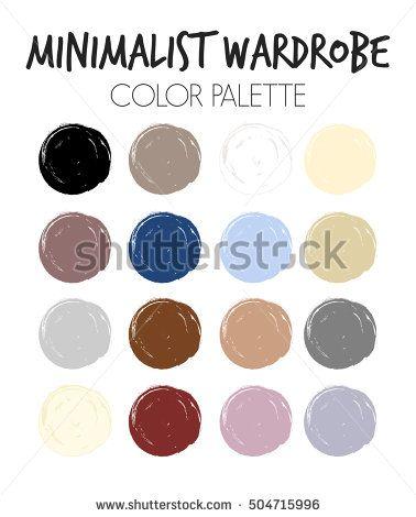 Wardrobe minimalist color palette vector, minimalism, basic color palette, minimalistic wardrobe. How to combine colors