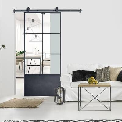 Glass Manufactured Wood Glass Primed Barn Door With Installation Hardware Kit In 2020 Glass Barn Doors Interior Glass Barn Doors Doors Interior