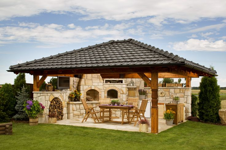 Backyard outdoor kitchen with a roof