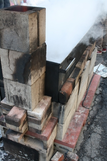 Part 5: A {how to} make a temporary fireplace to hold your evaporator for boiling sap into maple syrup!