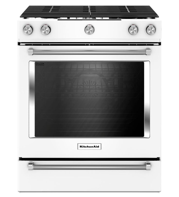 A white backless oven? Love it!! 30-Inch 5-Burner Gas Slide-In Convection Range