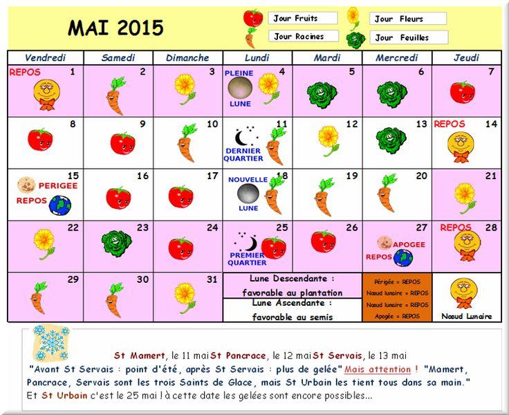Calendrier lunaire mai 2015 du comit local des jardins for Calendrier lunaire jardin janvier 2015