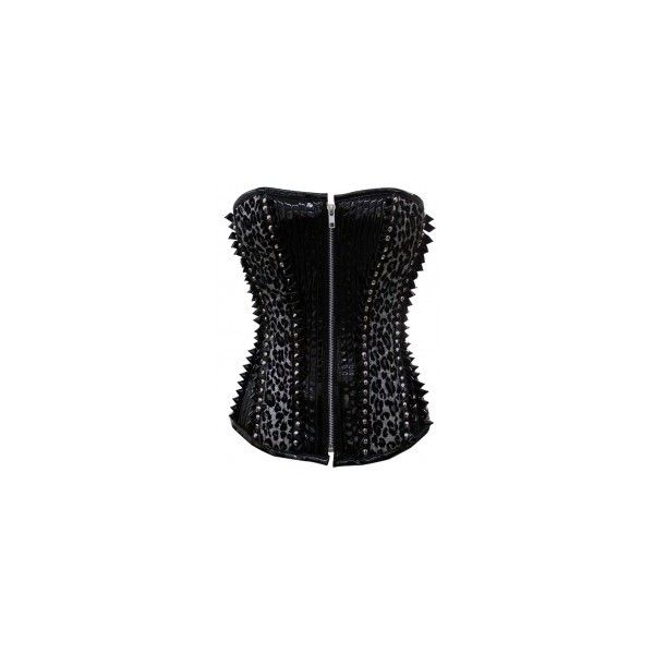 CD-315 Black PVC Corset with Leopard print Panels- MADE TO ORDER ❤ liked on Polyvore