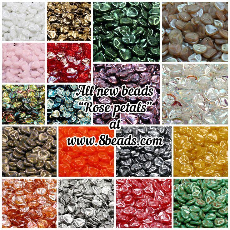 Czech Glass Pressed Rose Petal Beads