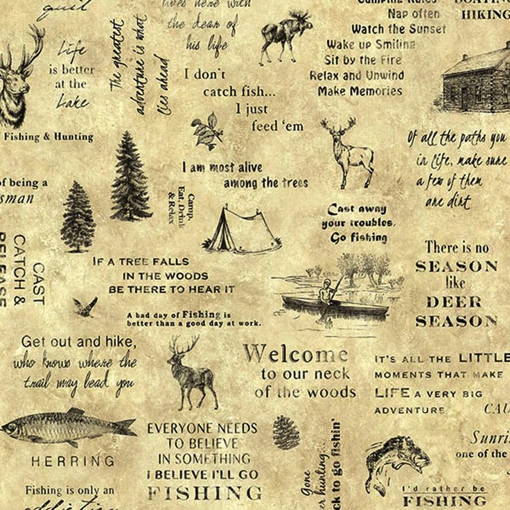 Hunting and Fishing Beige Script Wallpaper TLL01472 - papermywalls.com