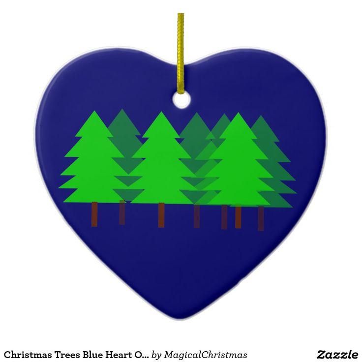 Christmas Trees Blue Heart Ornament