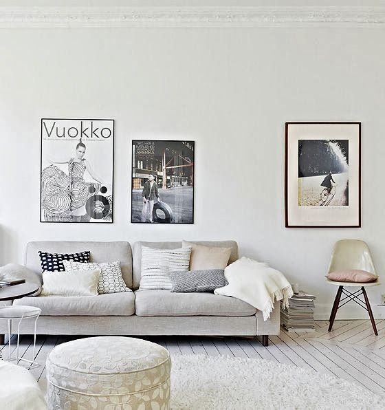 use muted greys as your foundation colour and add layers of cream and navy to create texture and pops of colour