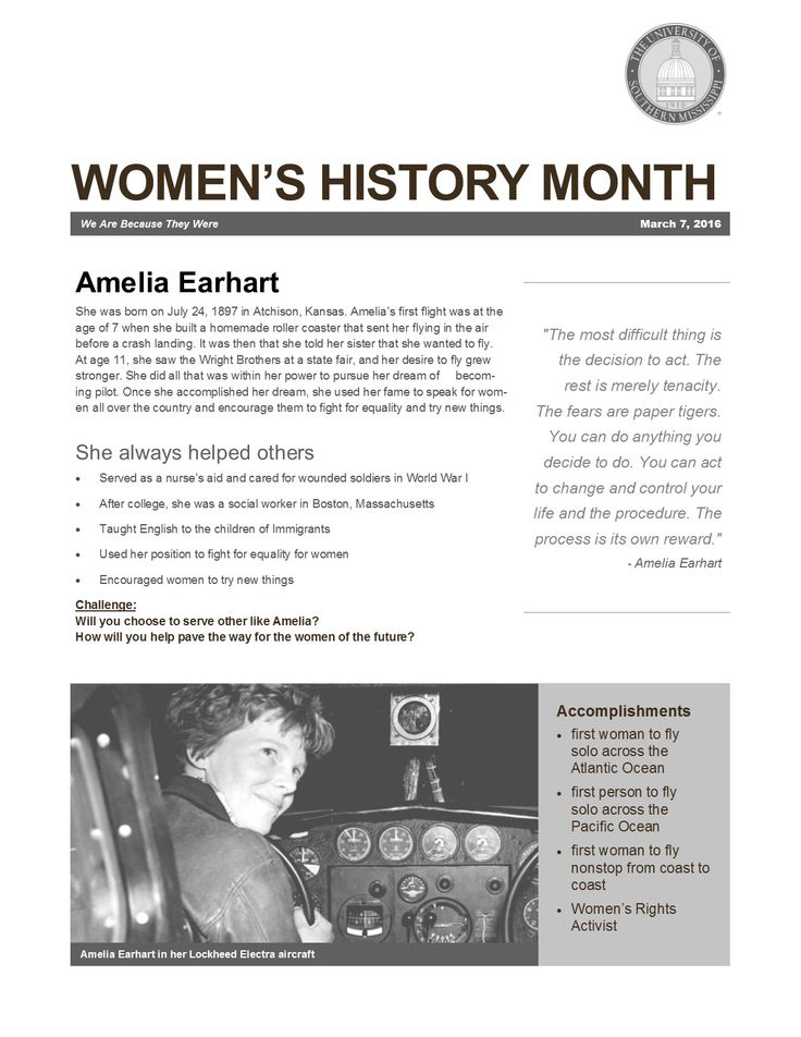 RA Passive - great for women's history month - facts about Amelia Earhart, her life, and a challenge for residents to grow