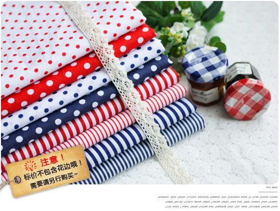 Fresh Navy Look 100% cotton fabric patchwork pattern 50x50cm 8 different designs polka dot/stripe printed. Free gift!
